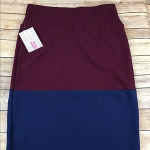 LuLaRoe Cassie skirt size medium blue and maroon